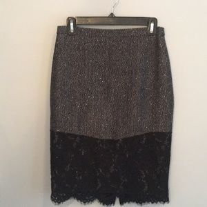 Jcrew wool and lace pencil skirt